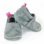 Chaussons bébé en cuir gris pailleté