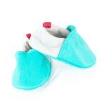 chaussons bébé en cuir bleu