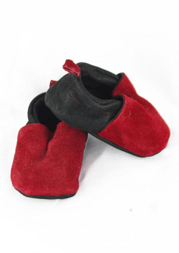 chaussons bébé en cuir bordeaux