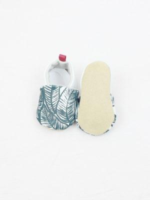 chaussons bébé cuir souple imprimé blanc motif lagon sérigraphie kapoune nantes cadeau de naissance