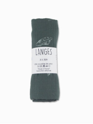 lange bébé coton mousseline kaki lagon made in france