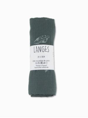 lange bébé coton mousseline kaki lagon made in france