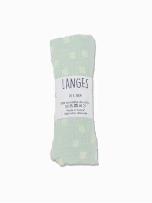 lange bébé coton made in de france menthe