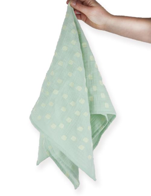 lange-bebe-menthe-mousseline-coton-imprime-confetti-kapoune-nantes