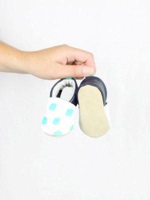 chaussons bebe cuir souple motif imprime confetti kapoune nantes
