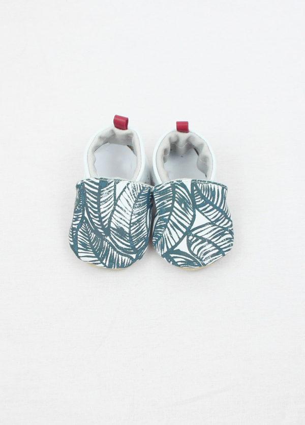 chaussons bébé cuir souple imprimé sérigraphie motif lagon kapoune nantes cadeau naissance
