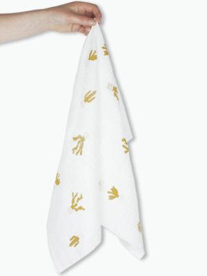 lange bébé coton made in france motif cactus blanc