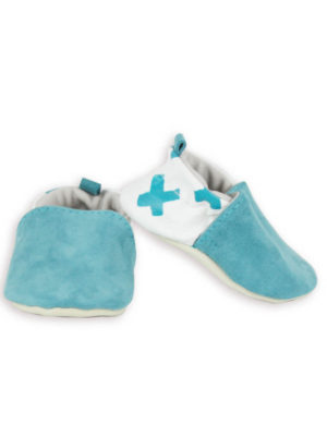 chaussons bébé cuir souple made in france blanc bleu kapoune