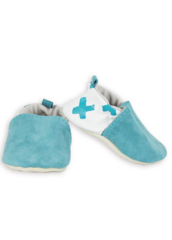 chaussons bébé cuir souple made in france blanc bleu kapoune