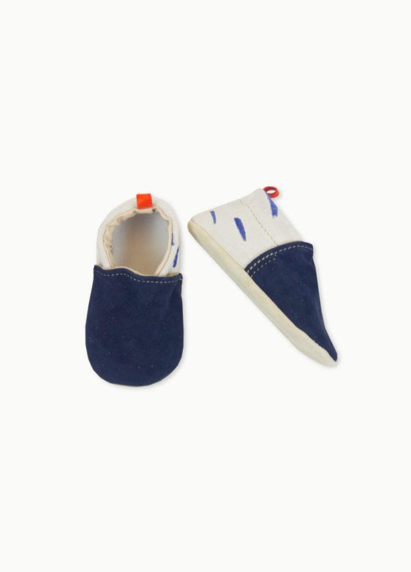 chaussons en cuir souple bebe marine kapoune
