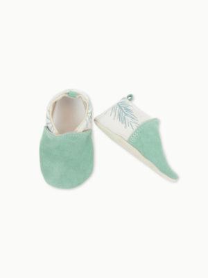 chaussons en cuir souple pour bébé menthe kapoune