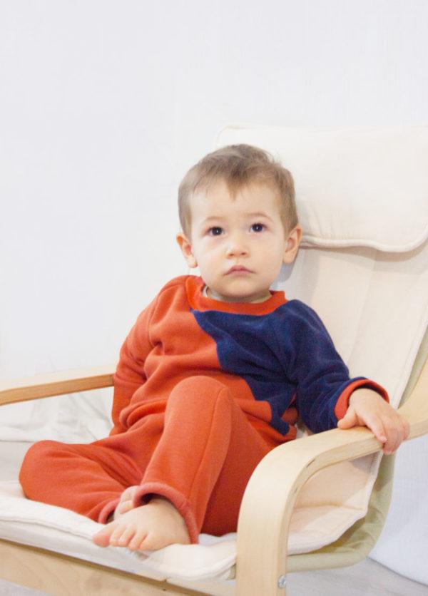 sweat bébé pull enfant bi matière coton bio made in france kapoune couleur brique marine