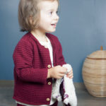 cardigan enfant bébé bordeaux nid d'abeille made in france kapoune