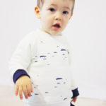 sweat bébé pull enfant coton bio beige made in france marine imprimé kapoune
