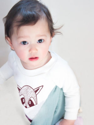 pull enfant sweat bébé coton bio imprimé raton laveur made in france kapoune