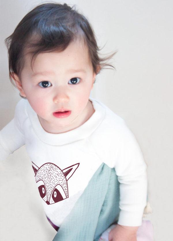 pull enfant sweat bébé coton bio imprimé raton laveur made in france kapoune