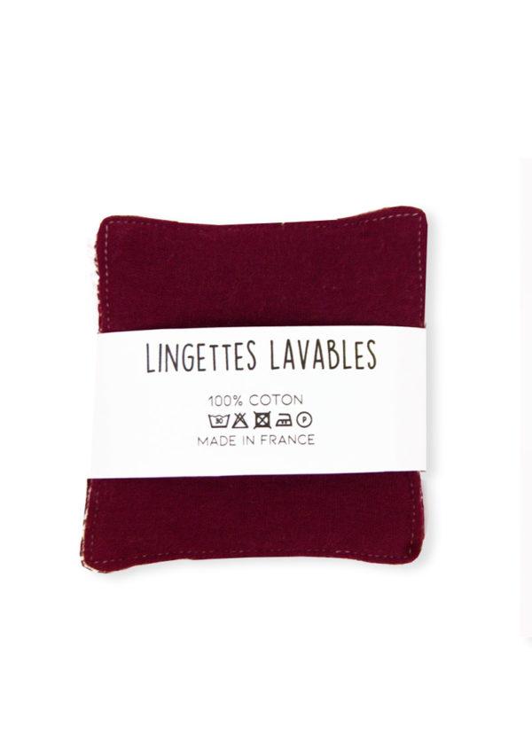 lingettes lavables bio bordeaux kapoune