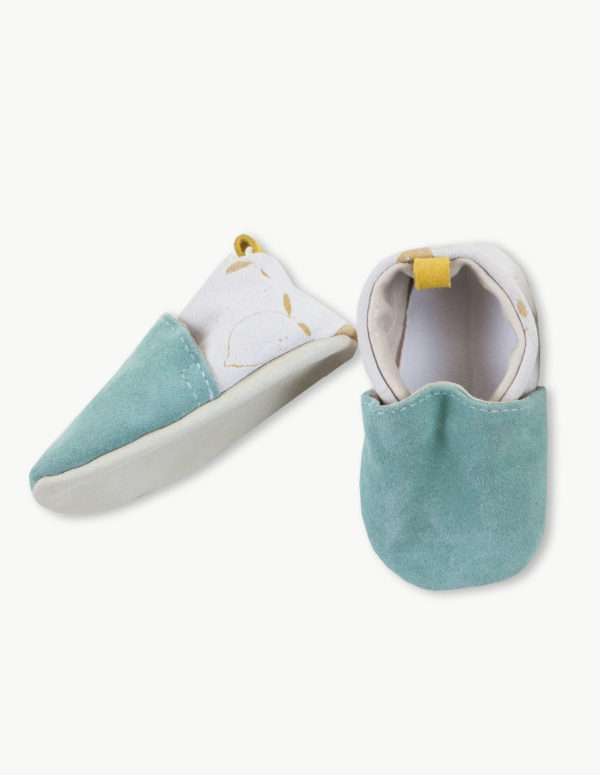 chaussons bebe cuir souple menthe citron made in france kapoune