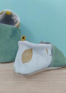 chaussons bébé cuir souple menthe