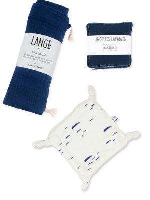 kit naissance bébé coton bio marine made in france
