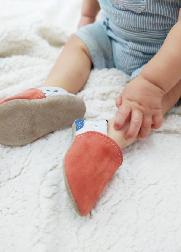 chaussons bébé cuir souple fabrication francaise kapoune coloré
