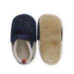 chaussons bébé cuir souples semelles amovibles bleu marine made in france