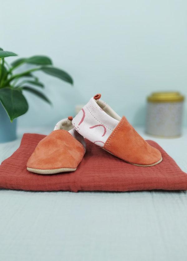 chaussons bébé cuir souple imprimé made in france