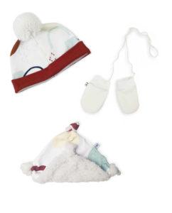 coffret kit pack cadeau naissance bonnet moufles doudou made in france