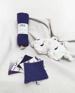 kit cadeau naissance coffret coton bio made in france bleu