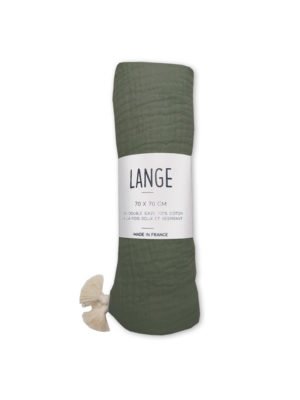 lange bébé kaki made in france coton bio 70X70 kapoune