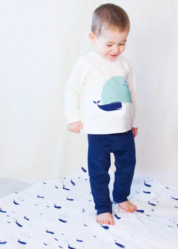 sweat bebe fille et garçon original motif baleine
