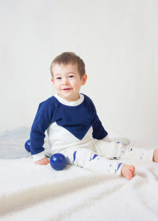 sweat enfant pull bébé coton bio bi matiere bleu marine made in france