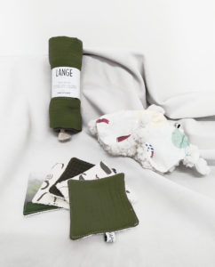 kit cadeau naissance coffret coton bio made in france kaki