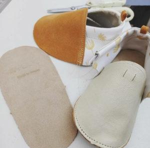 chaussons bébé cuir souple kapoune made in france camel