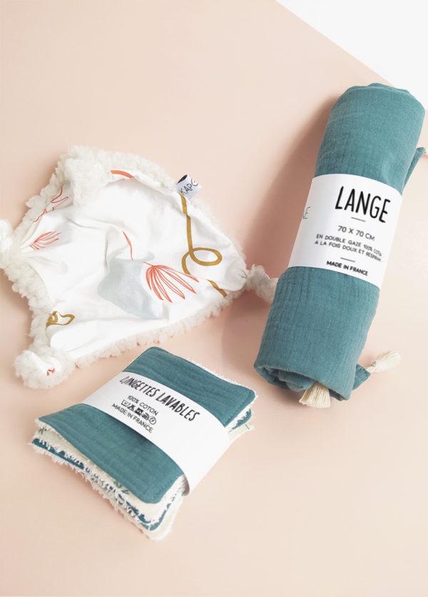 coffret-accessoires-bebe-cadeau-naissance-doudou-lange-lingette-made-in-france-coton-bio-kapoune