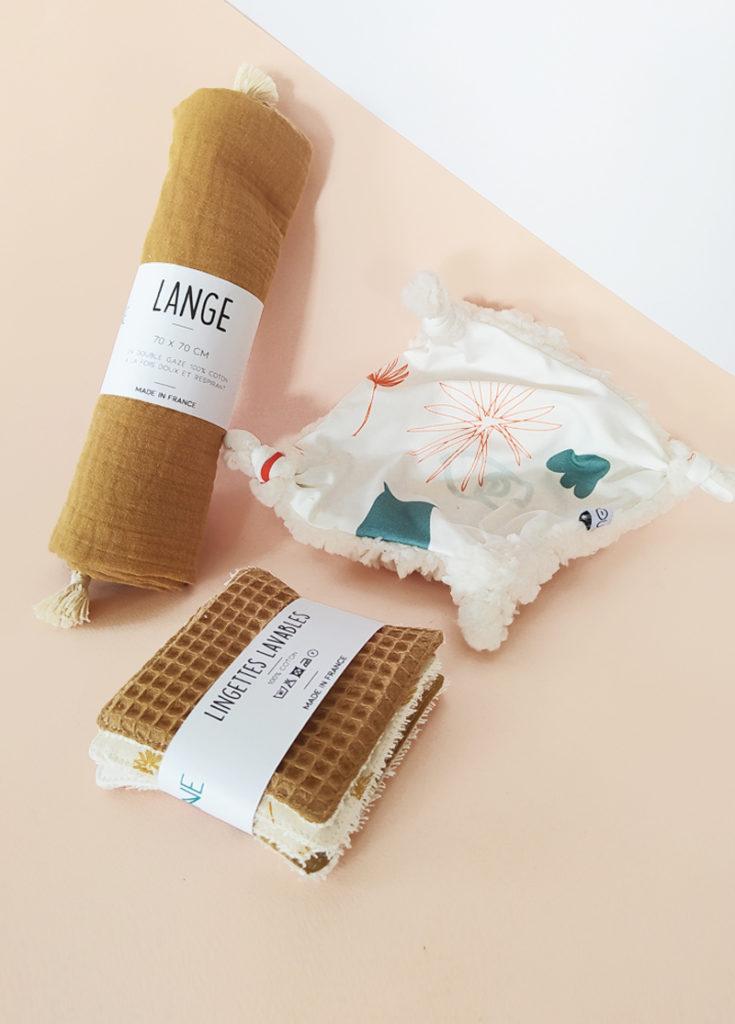 coffret naissance cadeau bébé made in france coton bio kapoune camel lange doudou lingettes