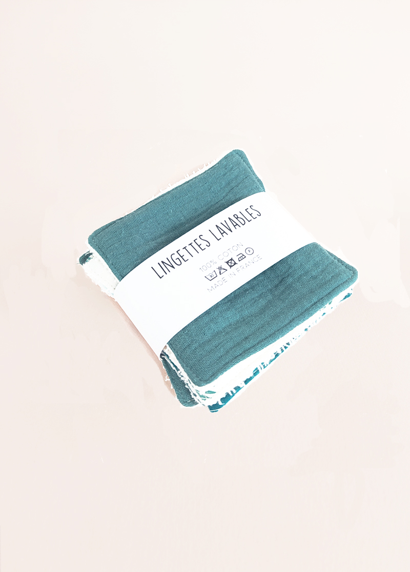 lot lingettes lavable coton x 5 démaquillant zéro déchet made in france kapoune nantes eucalyptus