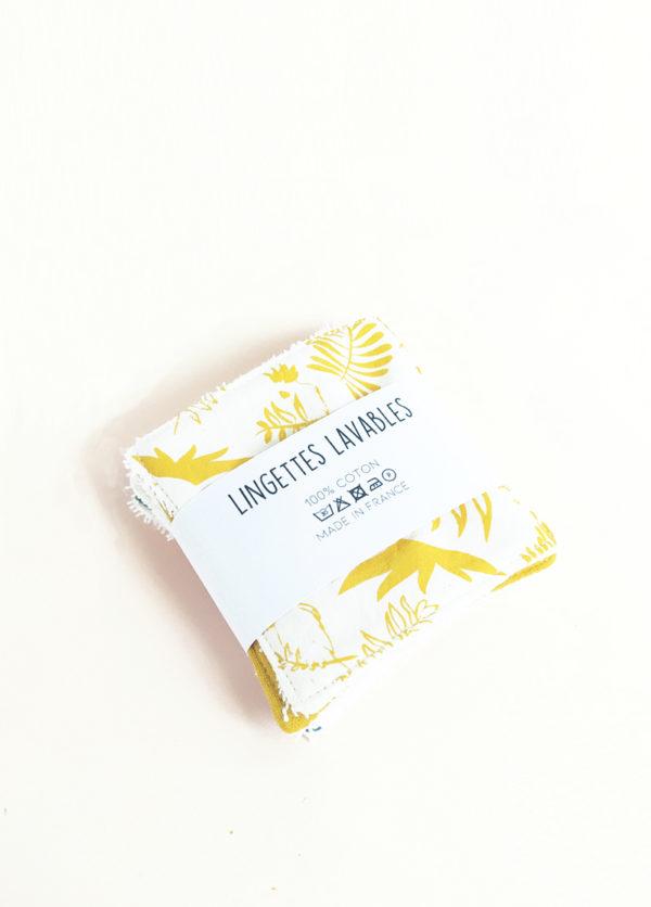 lot lingettes lavable coton x 5 démaquillant zéro déchet made in france kapoune nantes jaune x