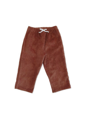 pantalon bébé enfant velour cognac coton bio made in france