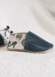 chaussons bébé cuir souple made in france kaki